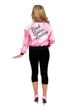 Printed Satin Jacket Pink Ladies Adult Costume