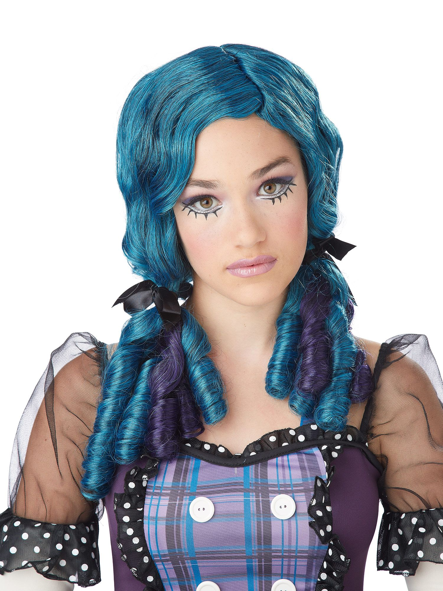 Teen Girl's Blue And Purple Doll Curls Wig