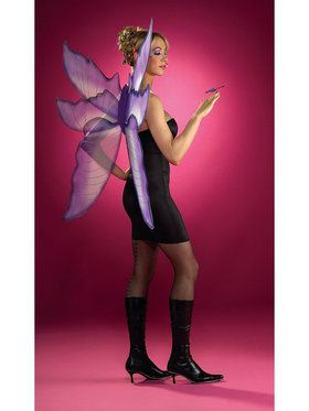 Silver and Purple Fairy Wings Costume Accessory