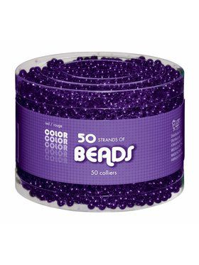 Shiny Purple Bead Necklaces-50 pack