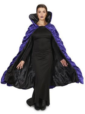 Purple Black Reversible Cape For Adults