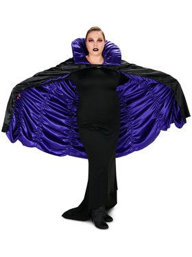 Plus Size Purple Black Reversible Cape For Adults