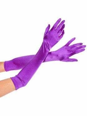 Purple Extra Long Satin Gloves Adult