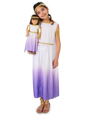 Purple Passion Greek Goddess Child Costume with Matching Doll Costume