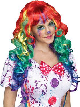 Rainbow Clown Wig with Bangs for Women