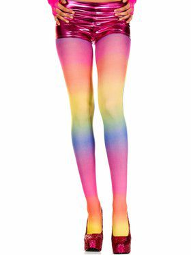 Rainbow Opaque Tights Adult