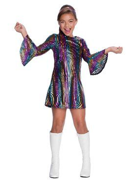 Girl's Rainbow Swirl Disco Diva Costume