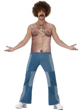 Realistic 70's Hairy Chest Top Men's Costume