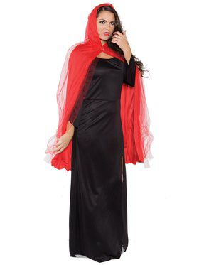 Red 3/4 Ghost Cape Adult Costume