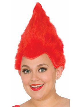 Fuzzy Red Wig For Adults