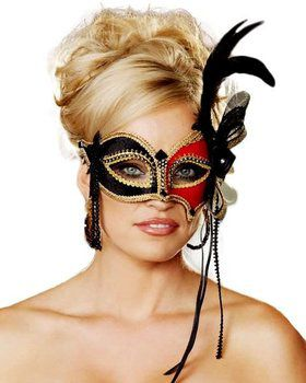 Red and Black Venetian Mask w/ Feather