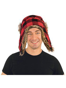 Red Black Lumberjack Adult Hat