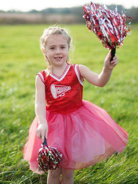 Red Cheerleader Girl's Costume