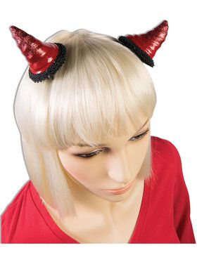 Red Devil Horn Barrettes for Adults
