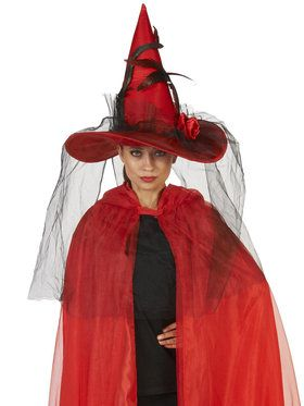 Red Feathered Witch Adult Hat with Veil for Halloween