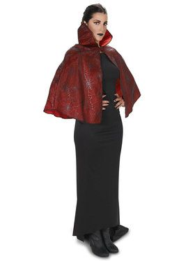 Red Foil Print Spiderweb Adult Cape for Halloween