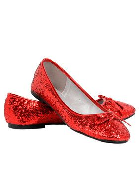 Red Glitter Star Flat Shoes For Adults