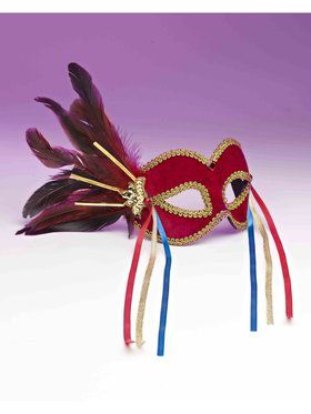 Red Mardi Gras Mask Accessory