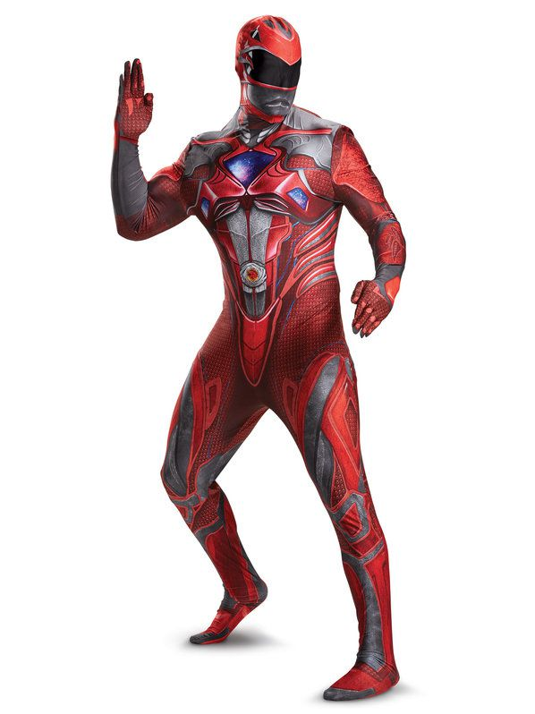 Red Power Ranger Bodysuit Costume For Adults - Mens ...