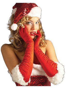 Miss Santa Red Satin Gloves