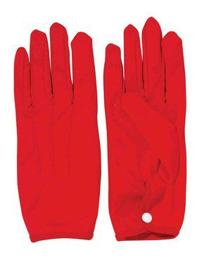 Red Short Parade Gloves with Snaps