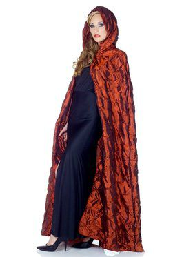 Red Taffeta Pin Tuck Adult Cape