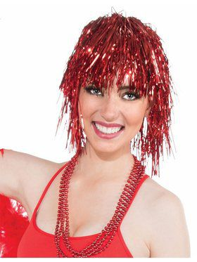 Womens Red Tinsel Wig