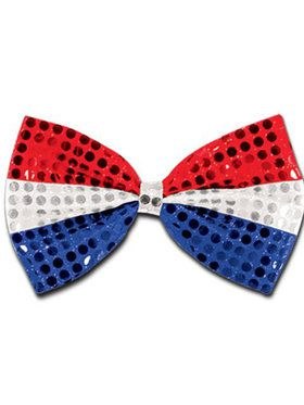 Red, White and Blue Disco Dot Bowtie