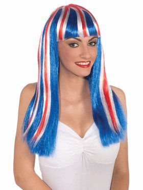 Red White and Blue Women's Wig
