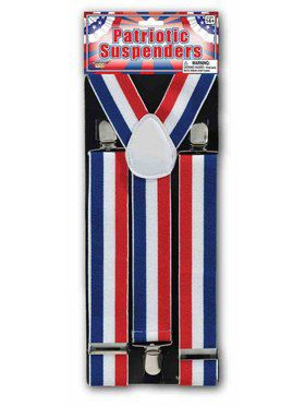 Adult Patriotic Multi-Colored Suspenders