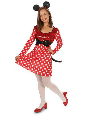 Red White Mouse Dress Costume For Adults