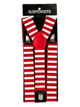 White and Red Santa Suspenders