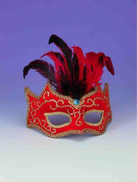 Red With Gold Trim And Feathers Half Mask Accessory