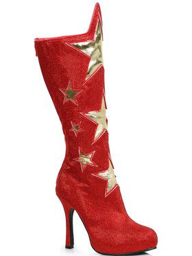 Red Womens Superhero Star Boots