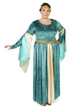 Plus Size Renaissance Teal Velvet Dress Costume For Adults