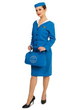 Adult Retro Glam Airline Stewardess Costume For Adults