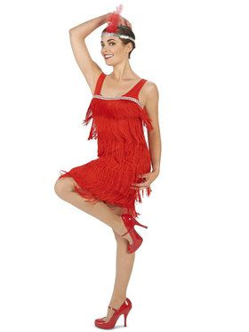 Roarin' Red Flapper Costume For Adults