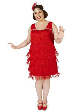 Plus Size Roarin' Red Flapper Costume For Adults