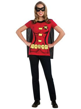 Robin (Female) T-Shirt Costume Kit For Adults