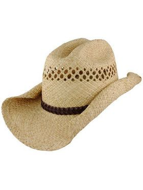 Rolled Brim Straw Cowboy Hat