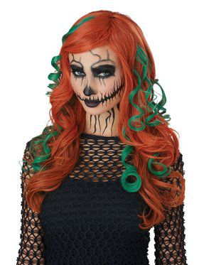 Adult Evil Roots Orange and Green Wig