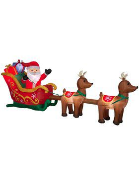 Inflatable 5 Ft Santa's Sleigh and Reindeer