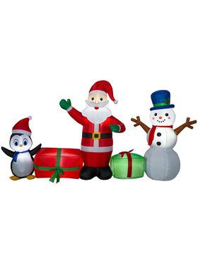 Inflatable 5 Ft Santa and Penguin Friends