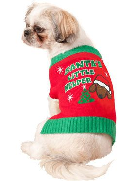 Santa's Little Helper Dog Ugly Sweater Costume