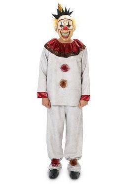 Scary the Carnival Clown with Mask Costume For Adults