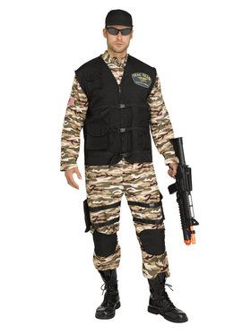 Mens Plus Seal Fighter Commando Costume
