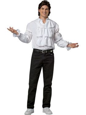 Seinfeld Jerry Puffy Shirt and Wig Men's Costume
