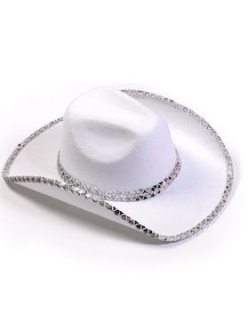 Sequin Cowboy Hat (White) For Adults