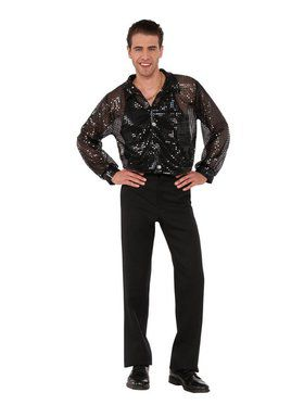 Black Sequin Disco Shirt