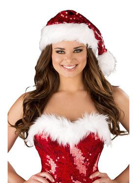 Sequin Santa Hat with Fur Trim